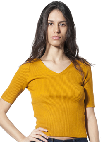Summer V-Neck Top - mustard front